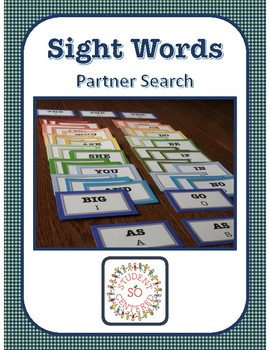 Sight Word Partner Search Cards