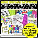 Editable Sight Words Games Activities, Kindergarten, 1st Grade, 2nd grade