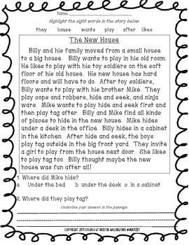 Sight Word Passages - Read to Self Passage