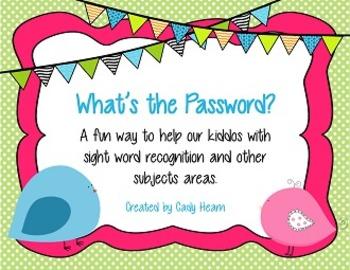 Sight Word Password Activity