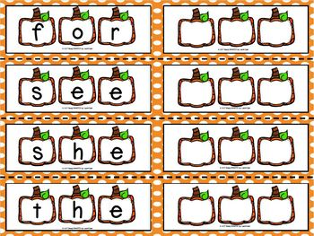 Sight Word Patch:  LOW PREP Pumpkin Themed Sight Word Activity