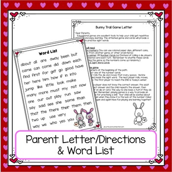 Sight Word Path Game - Bunny Trail {EDITABLE}