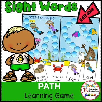 Sight Word Path Game - Deep Sea Diving {EDITABLE}
