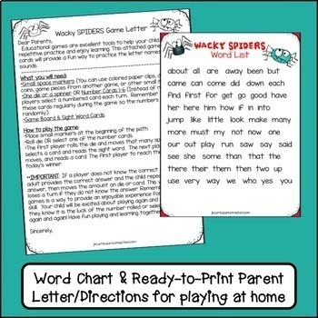 Sight Word Path Game - Wacky Spiders {EDITABLE}