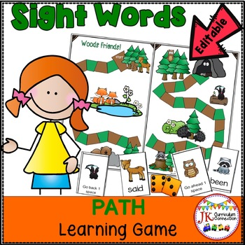 Sight Word Path Games – Woods Friends {EDITABLE}