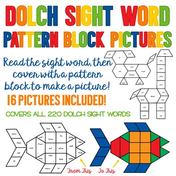 Sight Word Pattern Block Pictures - Contains All 220 Sight Words - Leveled!