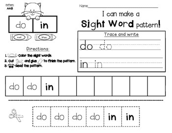 Sight Word Practice: Make a Pattern!