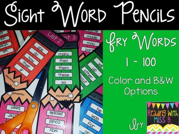 Sight Word Pencils {Fry Words 1-100}