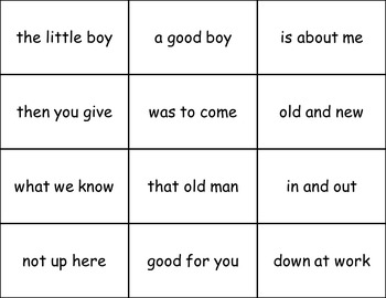 Sight Word Phrases Flashcards for Fluency - Lists 1,2,3