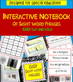 Sight Words Phrases for Intellectual Disabilities: EASY Interactive Notebook