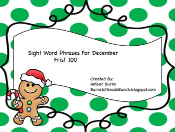 Sight Word Phrases: First 100 for December