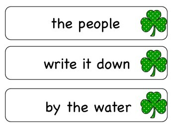 Sight Word Phrases: First 100 for March