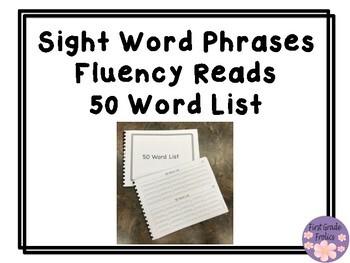 Sight Word Phrases Fluency Reads 50 Word List