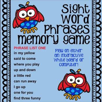 Sight Word Phrases - Interactive Match Game for Computer