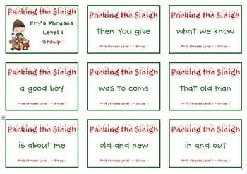 Sight Word Phrases Pack the Sleigh board game