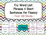 Sight Word Phrases & Short Sentences for Fluency Cards - First 100