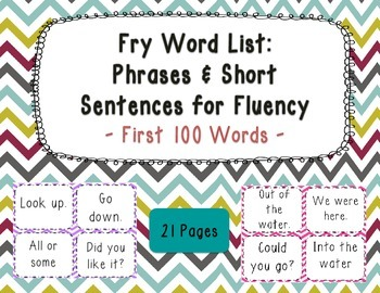 Sight Word Phrases & Short Sentences for Fluency Cards - F