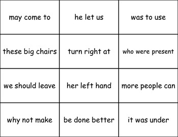 Sight Word Phrases Flashcards for Fluency - Lists 7,8,9