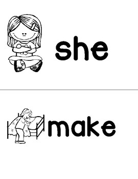 Sight Word Picture Cue Cards - make, she, all, play,  he, said, no, good