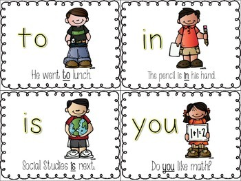 Sight Word {Picture Flash Cards} 50 included- SET #1