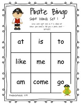 Sight Word Pirate Bingo