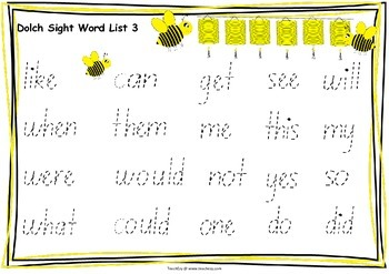 Sight Word Placemats