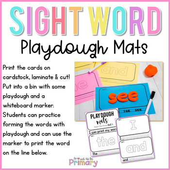 Dolch Sight Words Dough Mats