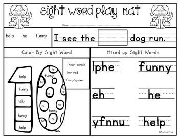 Sight Word Play Mats