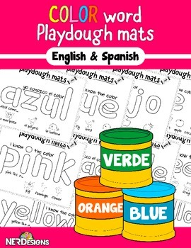 Sight Word Playdough Mats: Color Words in English & Spanish