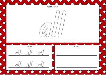 Sight Word Playdough Mats - M100W Red List Words - QLD Beginners Font