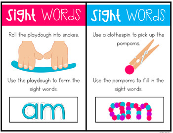 Sight Word Playdough Mats - Preprimer