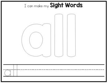 Sight Word Playdough Mats - Primer