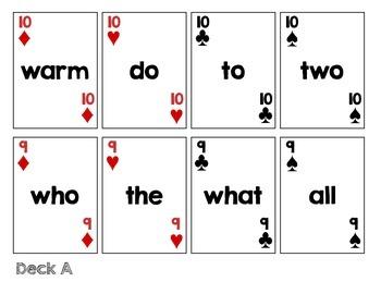 Sight Word Playing Card Decks