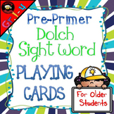 Sight Word Playing Cards: Dolch Pre-Primer