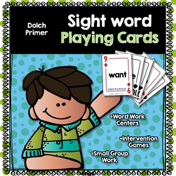 Sight Word Playing Cards Primer