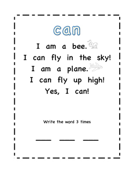 Sight Word Poems 1
