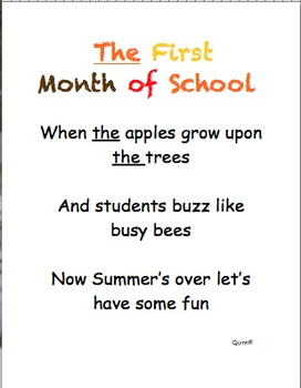 Sight Word Poems Demo- September,October (Dolch)