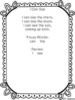 Sight Word Poems-Pre-Primer and Primer