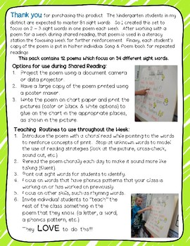 Sight Word Poems for Shared Reading, Literacy Stations, & Independent Pr