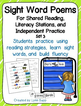 Sight Word Poems for Shared Reading and Literacy Stations Set 3