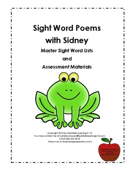 Sight Word Poems with Sidney Word Lists and Assessment Materials