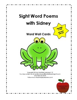 Sight Word Poems with Sidney Word Wall Cards
