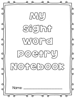 Sight Word Poetry Notebook