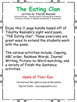 Sight Word Poetry - The Eating Clan