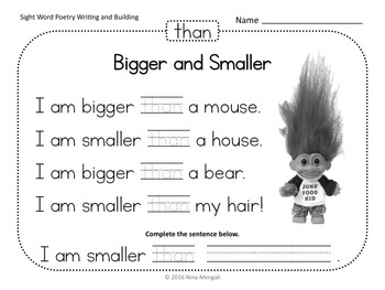 Sight Word Poetry Writing and Building with  Fry Words 1-100 BUNDLE Print & Go!