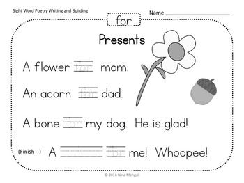 Sight Word Poetry Writing and Building with  Fry Words 1-25 Print & Go!