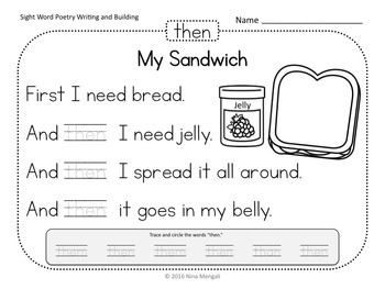 Sight Word Poetry Writing and Building with  Fry Words 51 - 75 Print & Go!