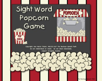 Sight Word Popcorn Game for Speech Therapy