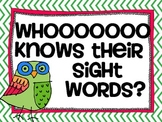 Sight Word Posters - Owl Themed