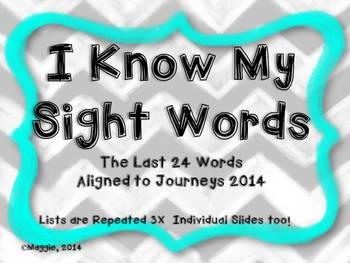 Sight Word Slide Show  Aligned to the Journeys 2014--Last 24/Year in Review